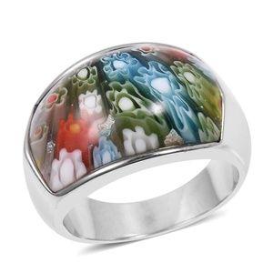 Multi Color Murano Millefiori Glass Stainless Ring